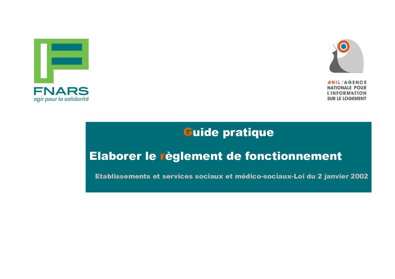 Guide - Rédaction des règlements de fonctionnement des établissements sociaux et médico-sociaux