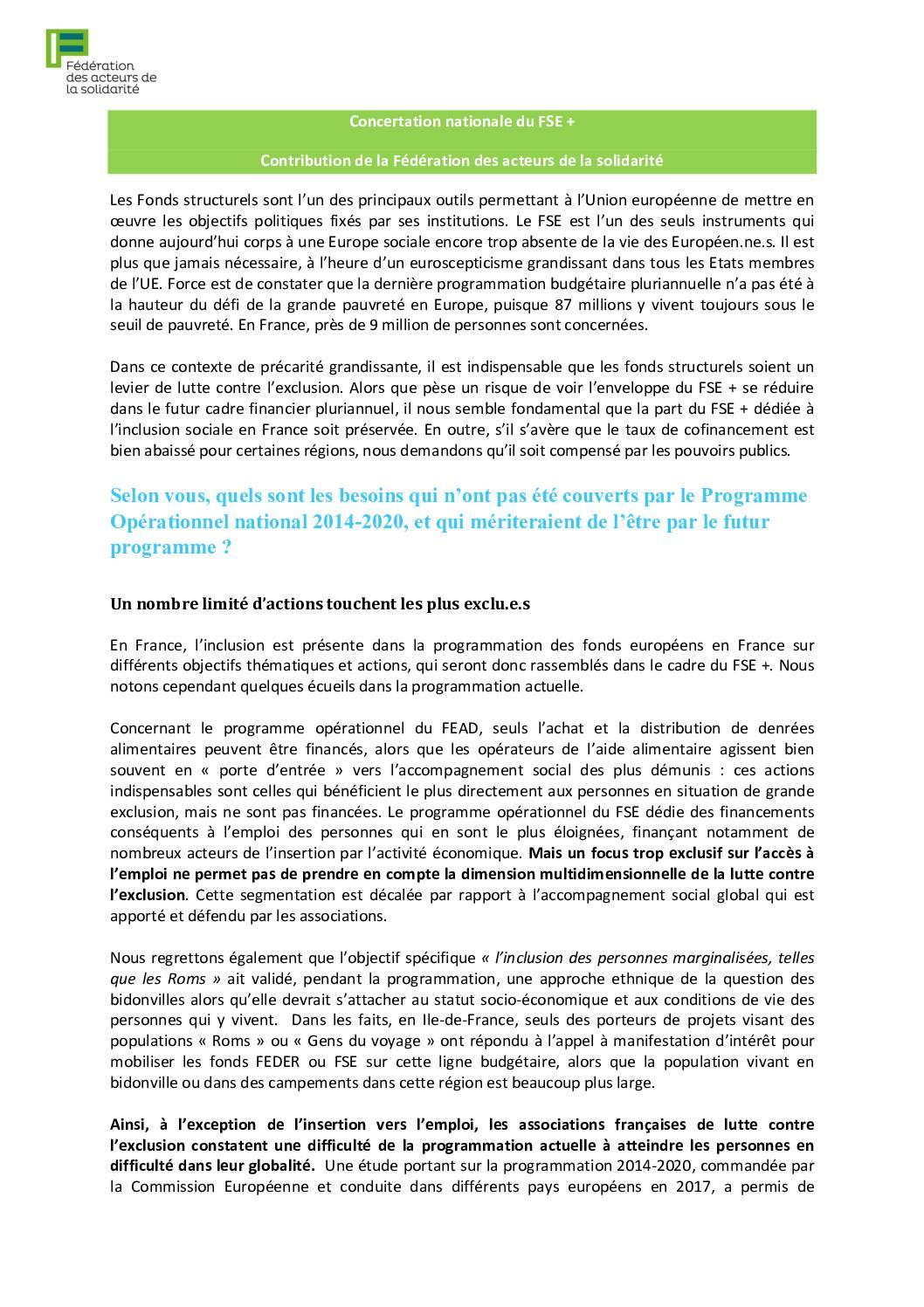 Concertation nationale du FSE + et Contribution de la Fédération des acteurs de la solidarité