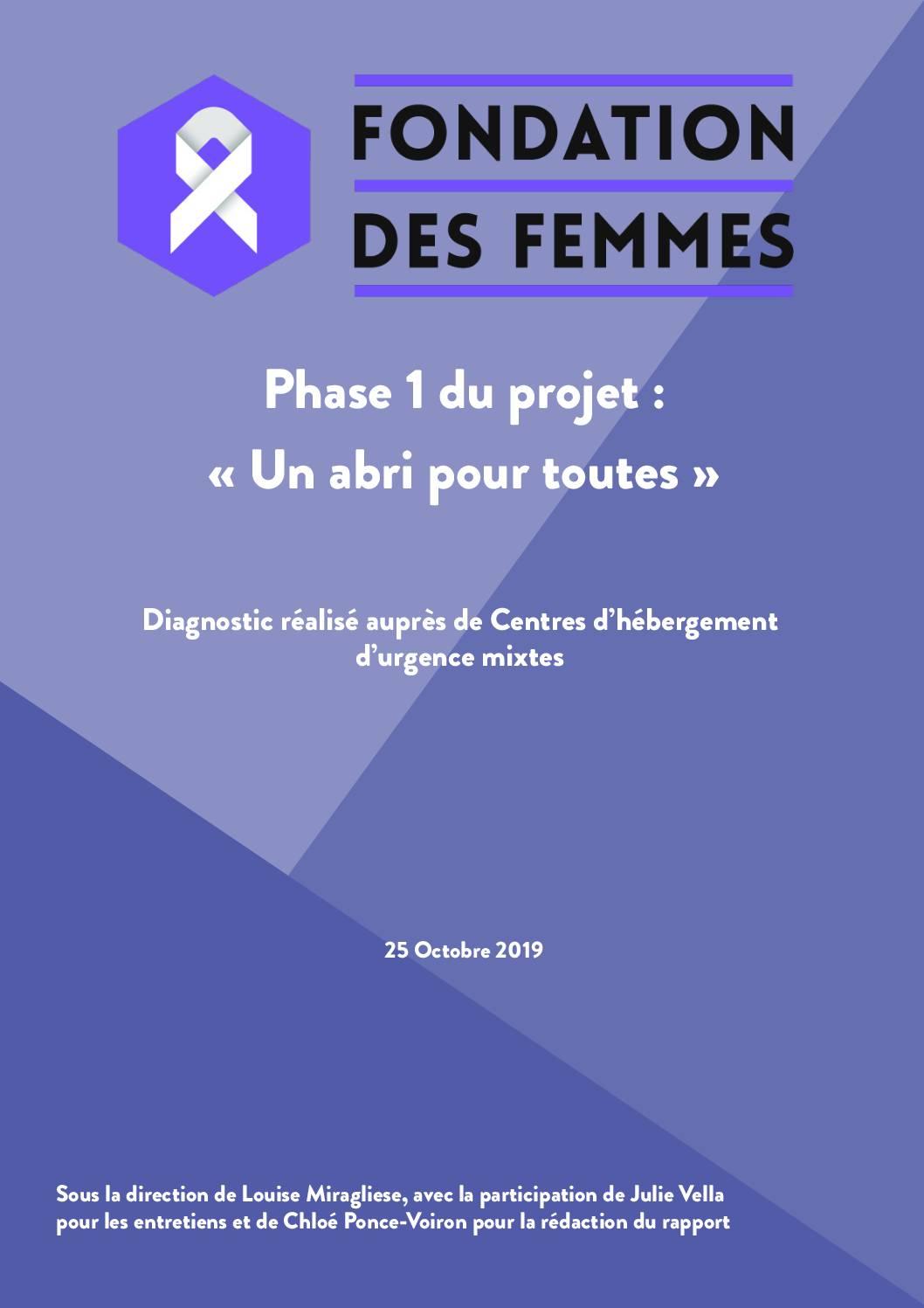 Projet #UnAbriPourToutes : audit sur la situation des femmes dans les centres d'hébergement mixtes