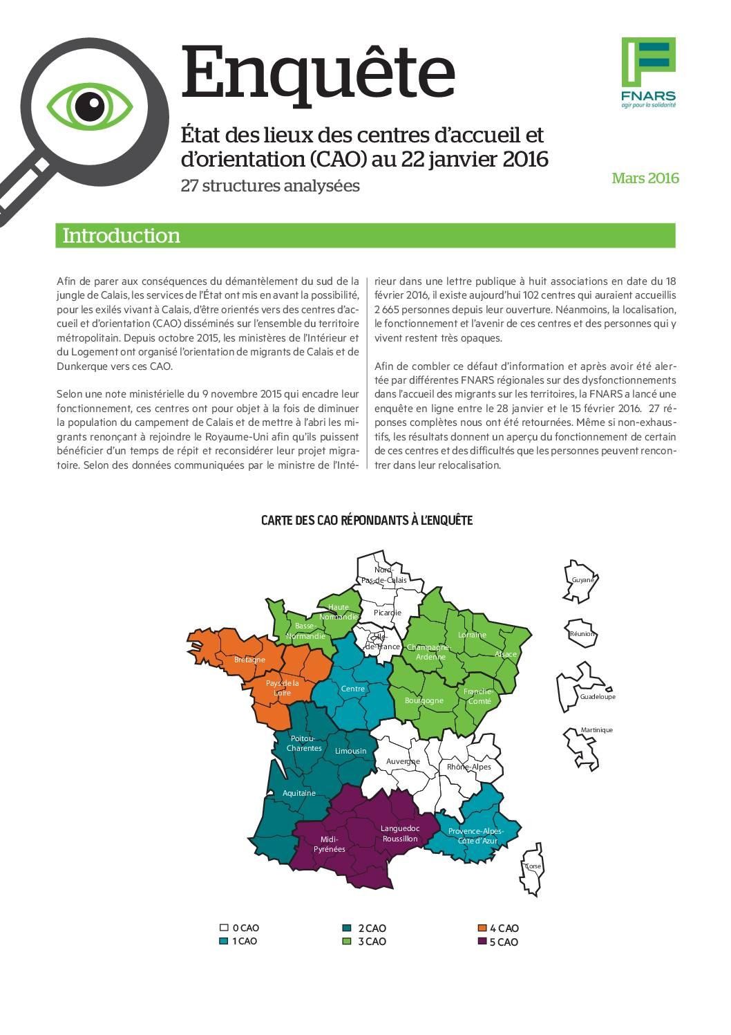 La Fédération publie une enquête sur les centres d'accueil et d'orientation (CAO) des migrants