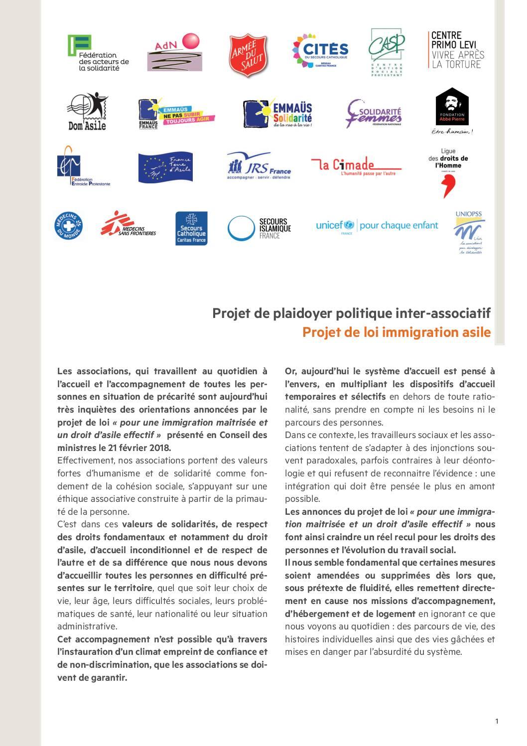 Projet de loi immigration asile : plaidoyer politique inter-associatif