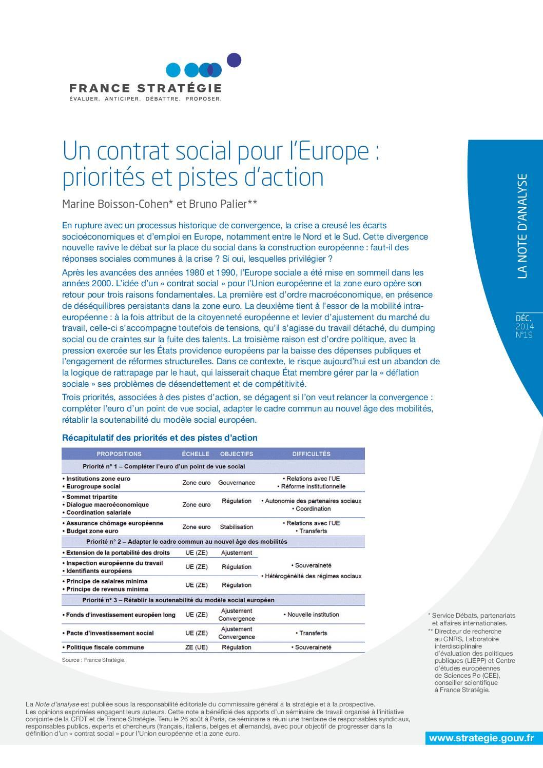 Un contrat social pour l'Europe : priorités et pistes d'action
