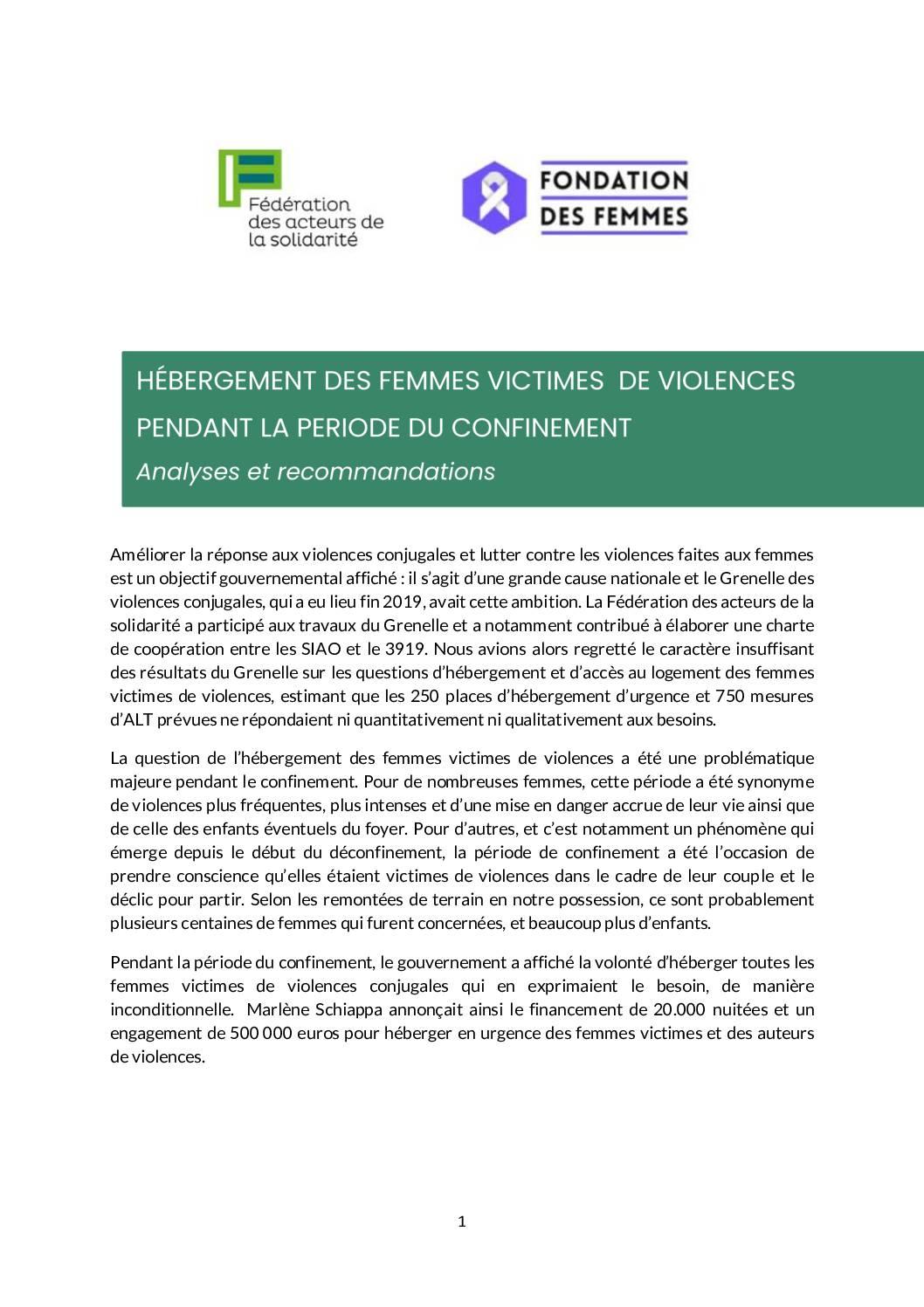 Note Hébergement Femmes victimes de violences pendant le confinement