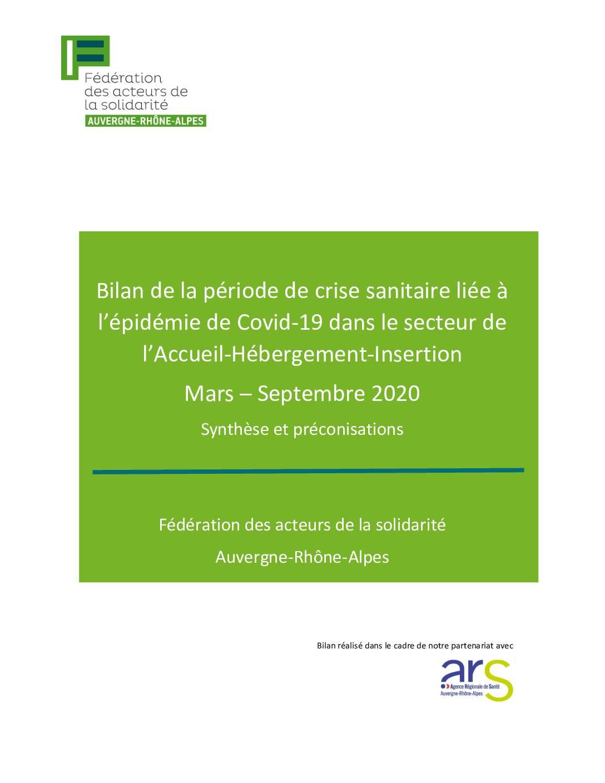 Bilan de la crise sanitaire de mars à septembre 2020