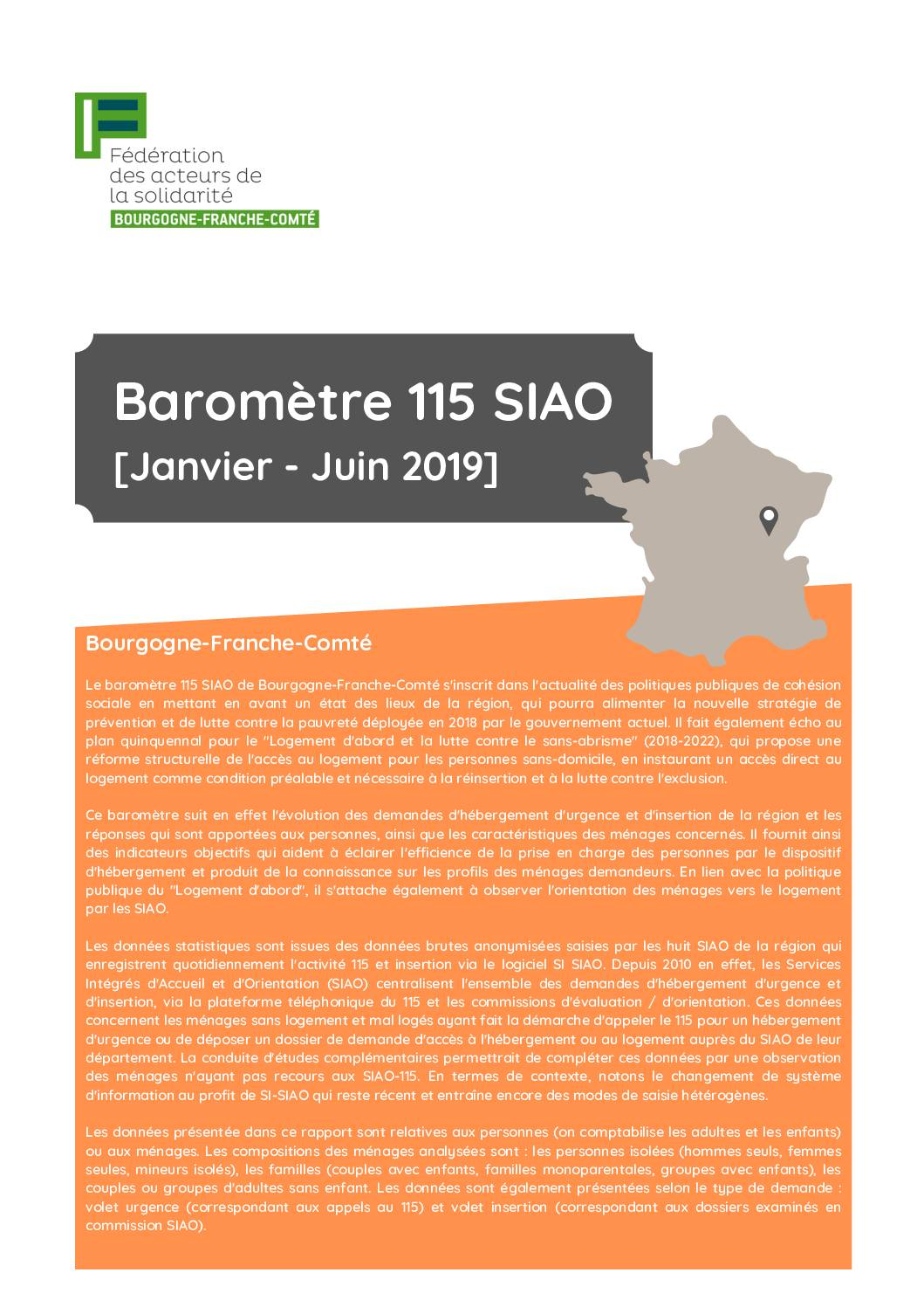 La Fédération publie son baromètre 115 SIAO 2019