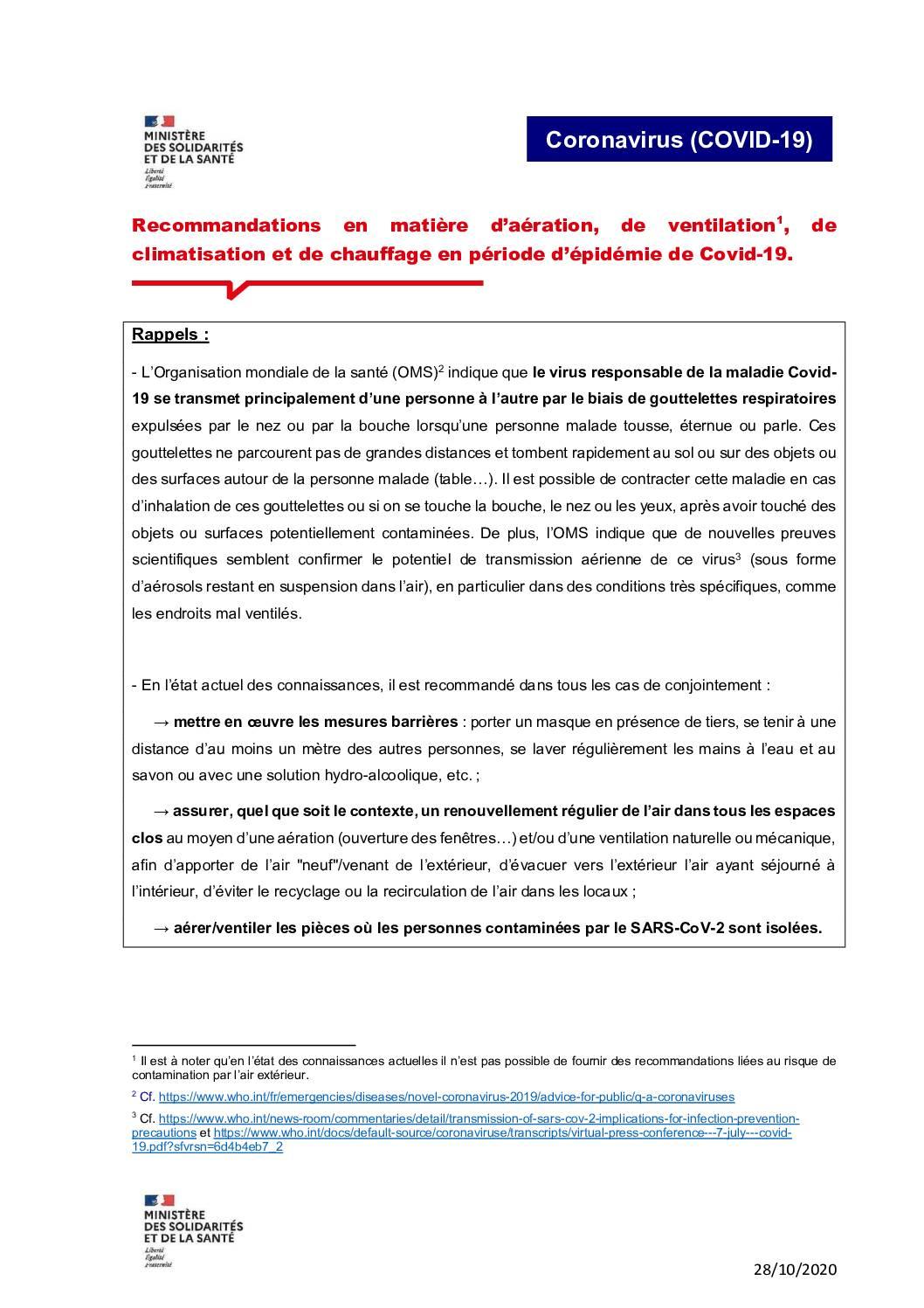 Recommandations en matière d'aération, de ventilation1, de climatisation et de chauffage en période d'épidémie de Covid-19