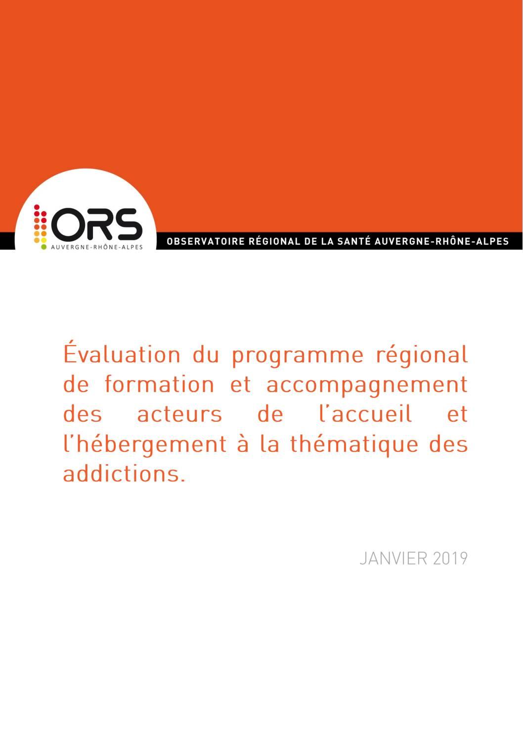 Evaluation du programme régional de formation et accompagnement des acteurs de l'accueil et l'hébergement à la thématique des addictions