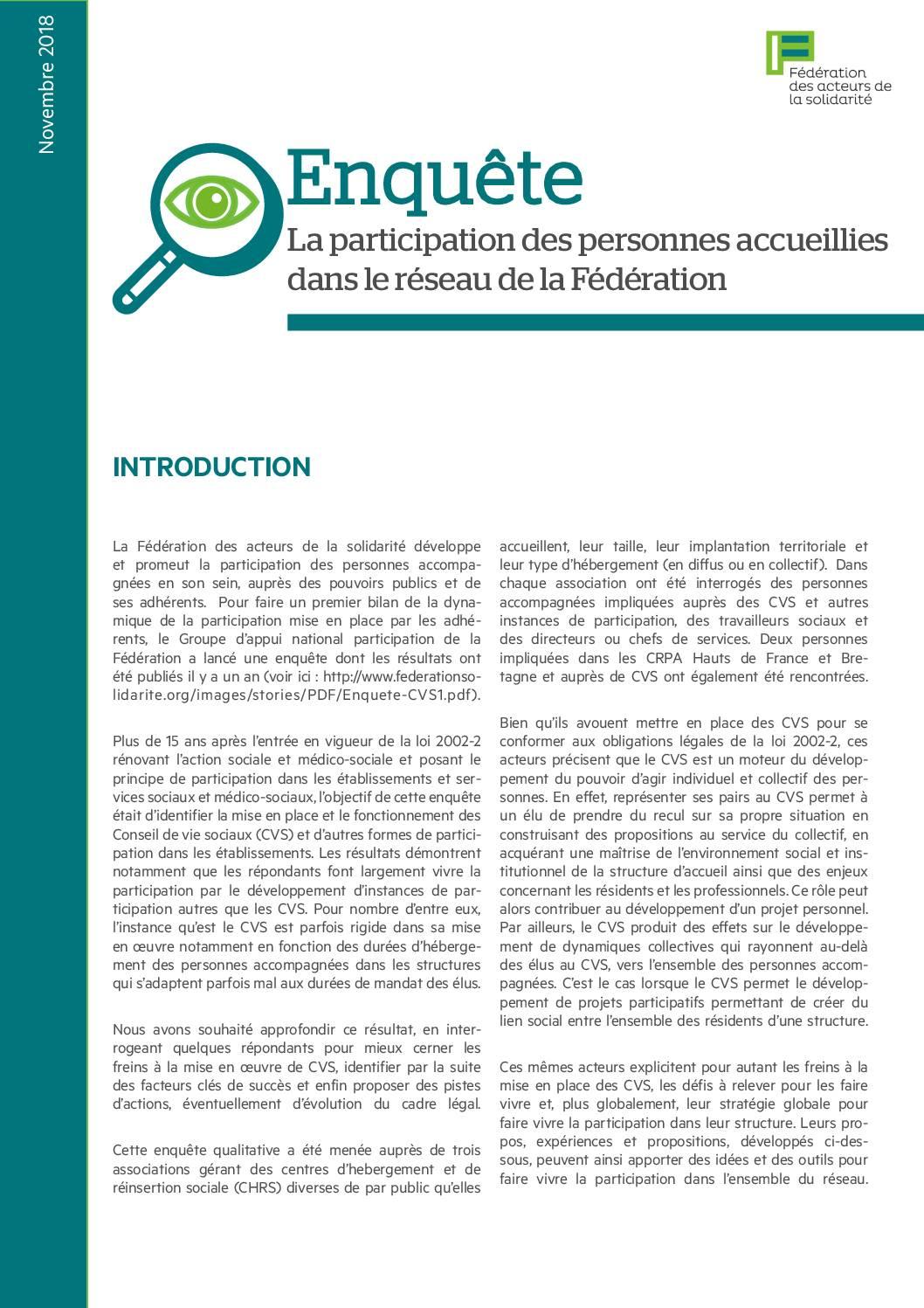 Enquête 2018 - La participation des personnes accueillies dans le réseau de la Fédération