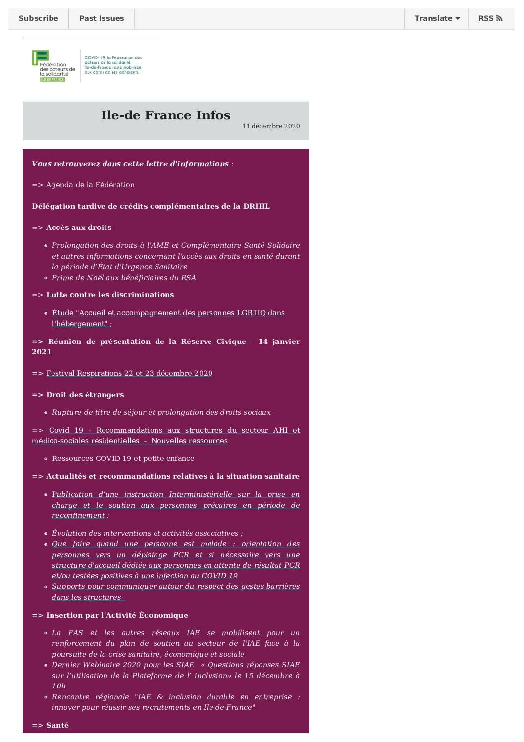 Ile-de-France infos 11 décembre 20