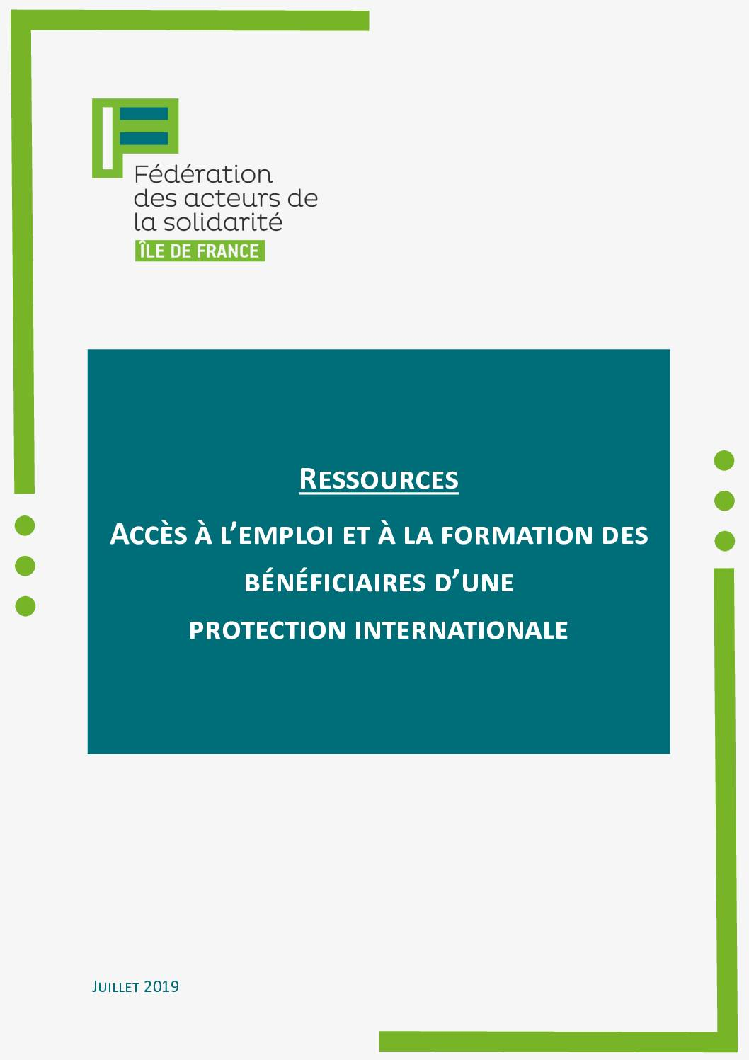 Guide accès à l'emploi et à la formation des bénéficiaires d'une protection internationale FAS IdF