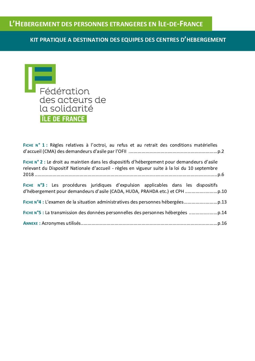 Kit Hébergement des personnes étrangères - MaJ janvier 2020