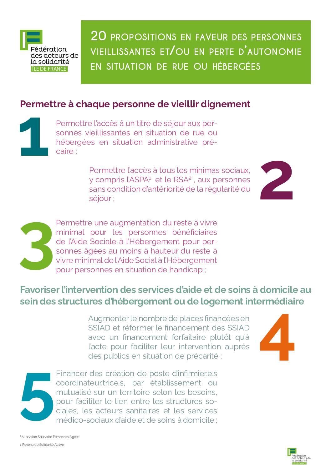 20 propositions de la FAS IdF pour améliorer l'accompagnement des personnes vieillissantes précaires