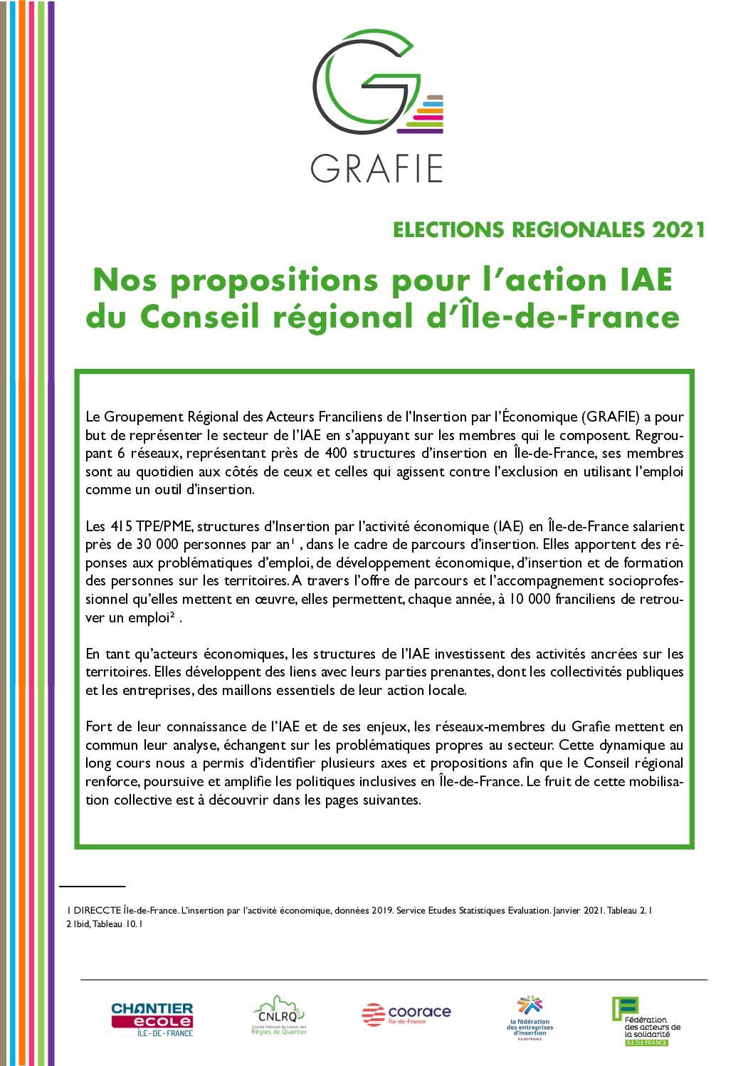 Le plaidoyer du Grafie à destination des candidats têtes de liste en Île-de-France