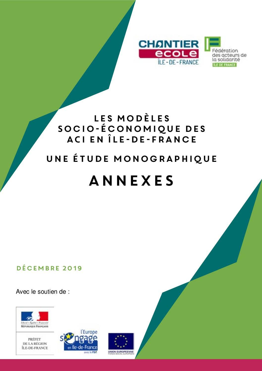 Les modèles économiques des Ateliers et Chantiers Insertion en IDF (Annexes et monographies)