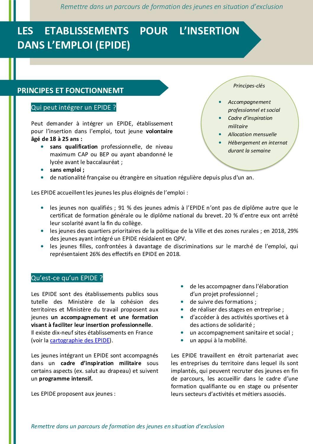 Les établissements pour l'insertion dans l'emploi (EPIDE)