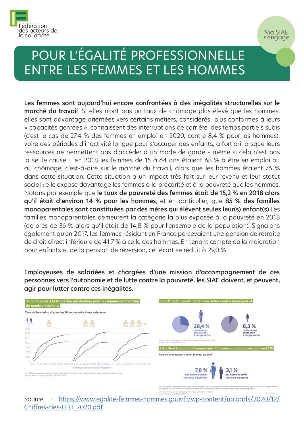 Fiche pratique FAS - Pour l'égalité professionnelle entre les femmes et les hommes