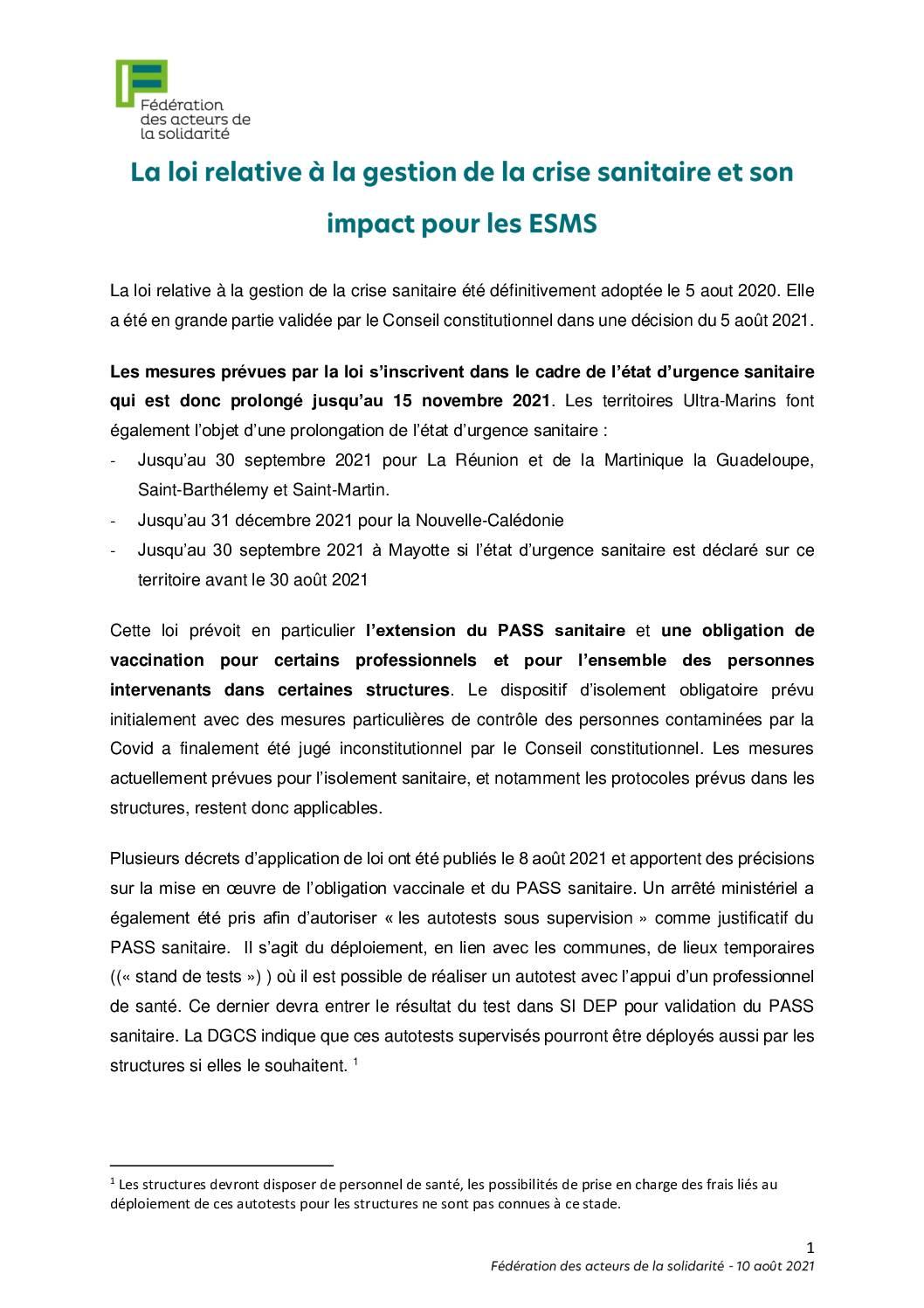 Décryptage FAS de l'obligation vaccinale/Pass sanitaire et impact sur les ESMS