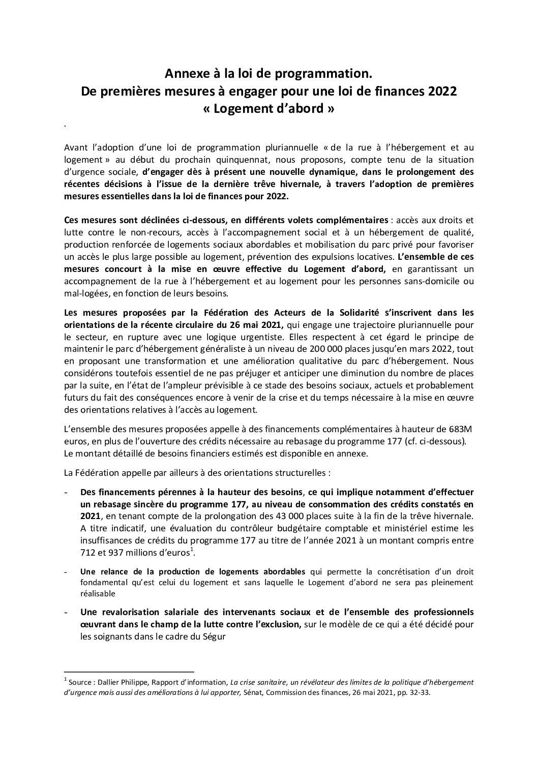 Annexe à la loi de programmation. De premières mesures à engager pour une loi de finances 2022  « Logement d'abord »